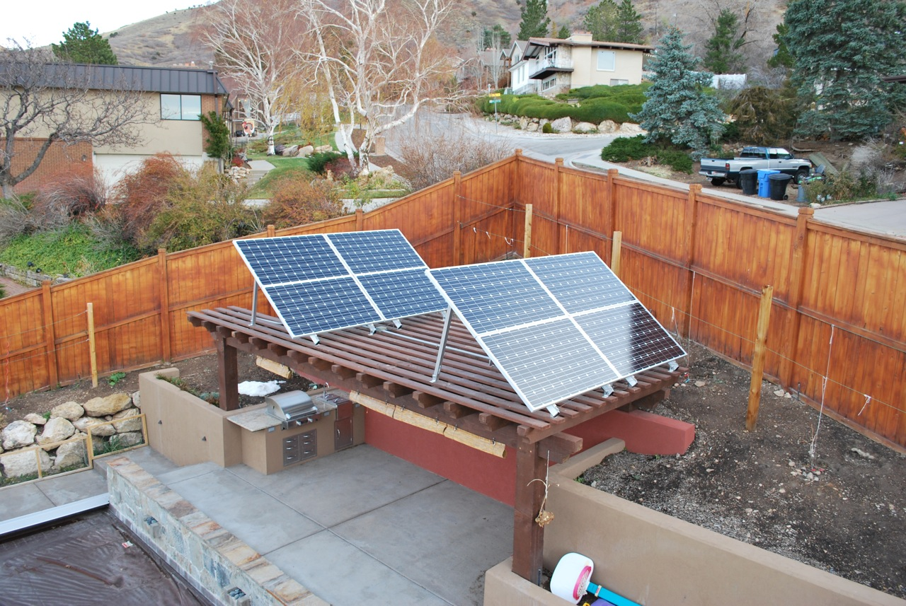 Eight PV Panels on the Pergola - Grid-Tied Solar Power System